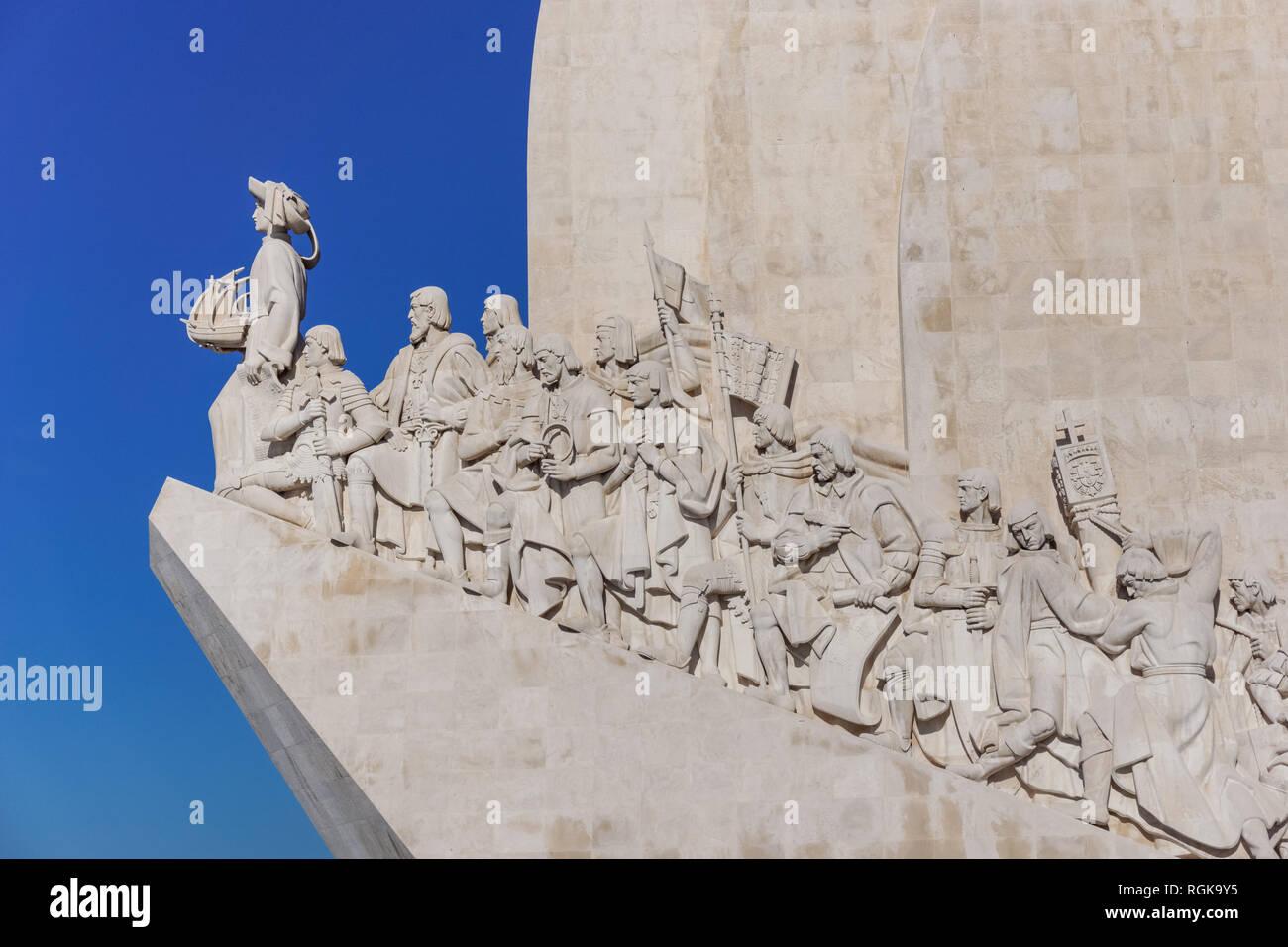 Monument to the Discoveries (Padrão dos Descobrimentos monument) in Lisbon, Portugal - Stock Image