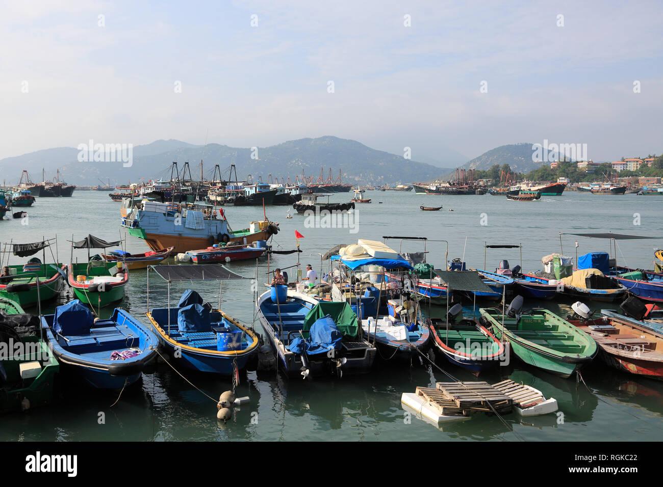 Cheung Chau Island, Harbor, Fishing Boats, Hong Kong, China, Asia - Stock Image