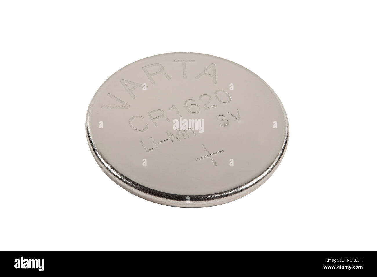 A Varta Lithium Button Cell Battery for a car key isolated on a white background - Stock Image