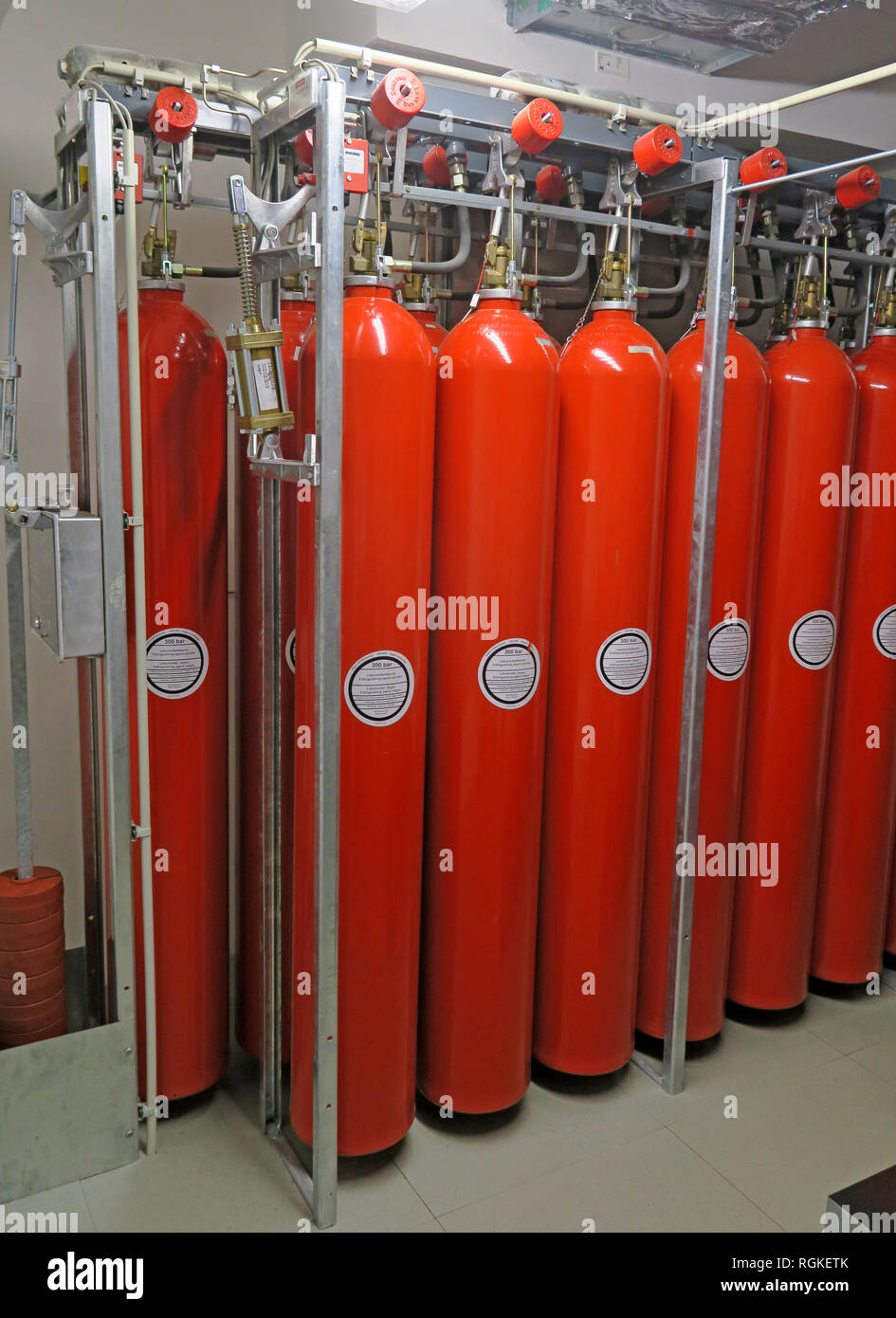 Heavy compressed Argon Gas Cylinders in a cloud data storage  centre, Mainz, Rhineland-Palatinate, Germany, Europe - Stock Image