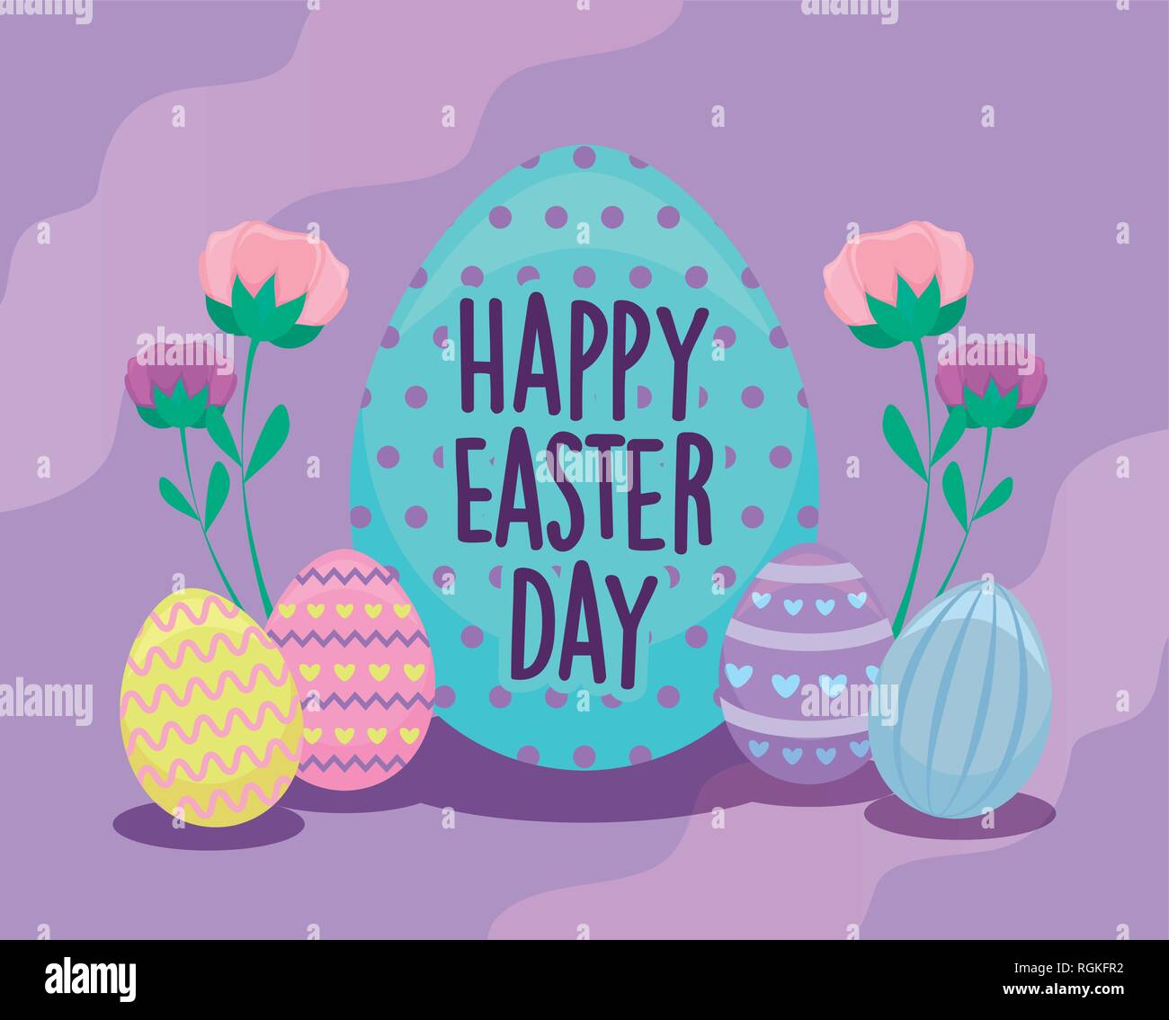 Happy Easter Day Card With Decorated Eggs Vector Illustration Design Stock Vector Image Art Alamy