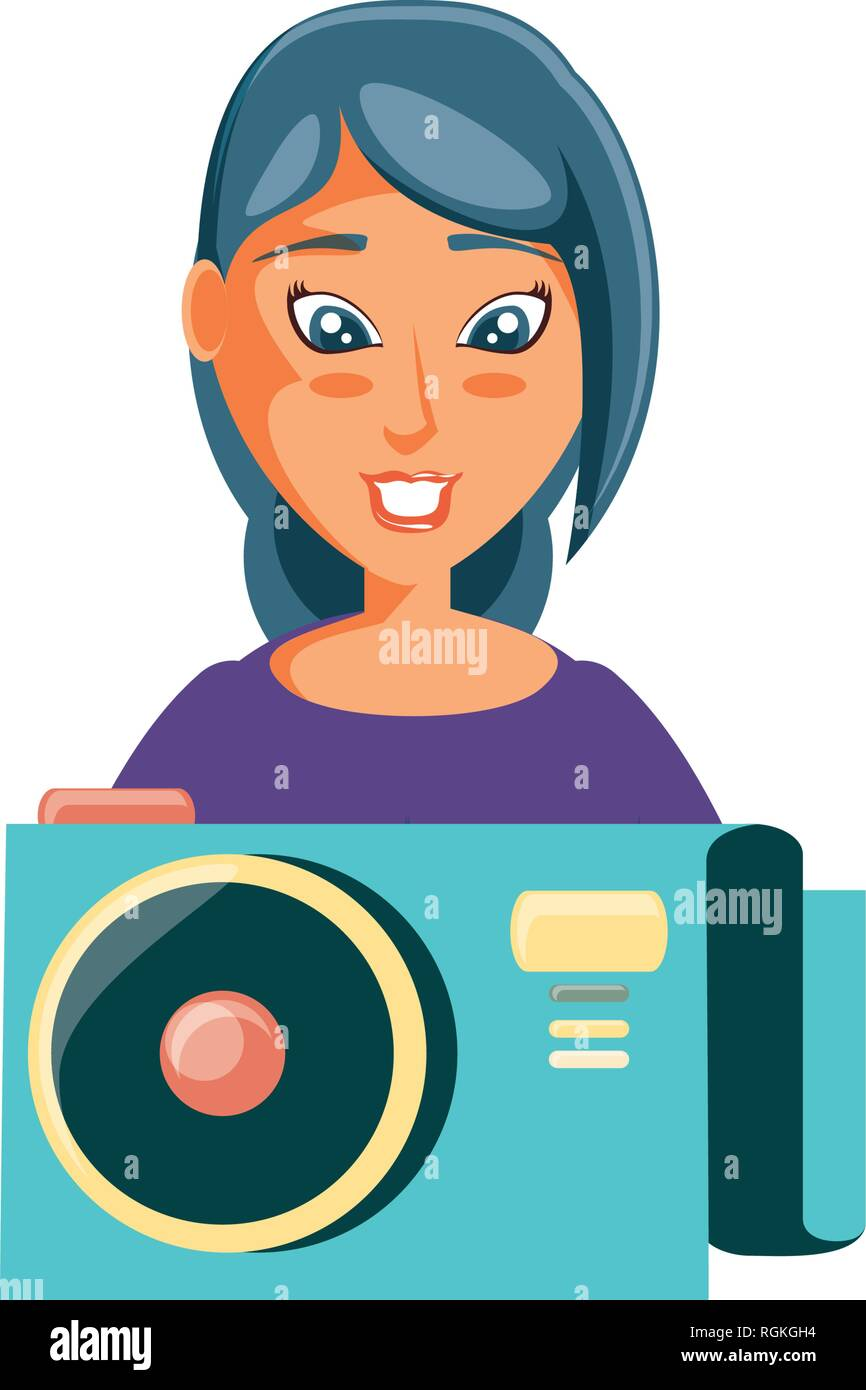 woman with camera photographic vector illustration design - Stock Image