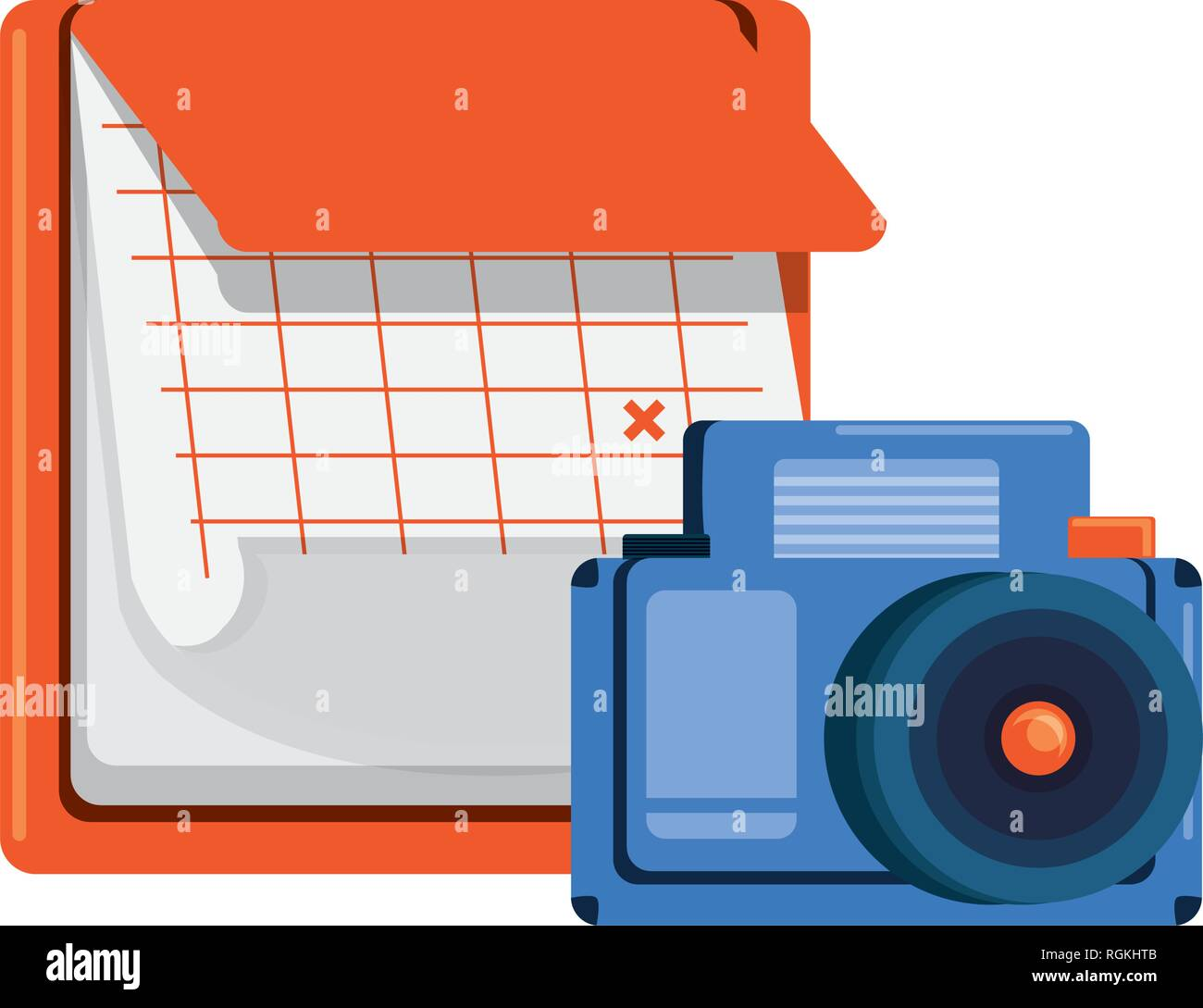 calendar reminder with photographic camera vector illustration design Stock Vector