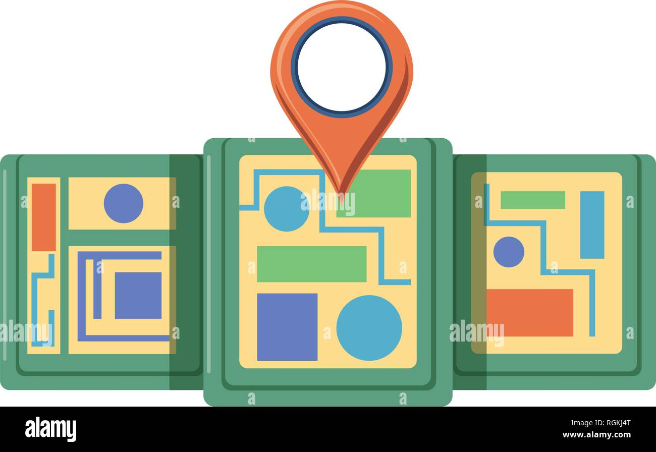 map guide with pin location vector illustration design - Stock Vector