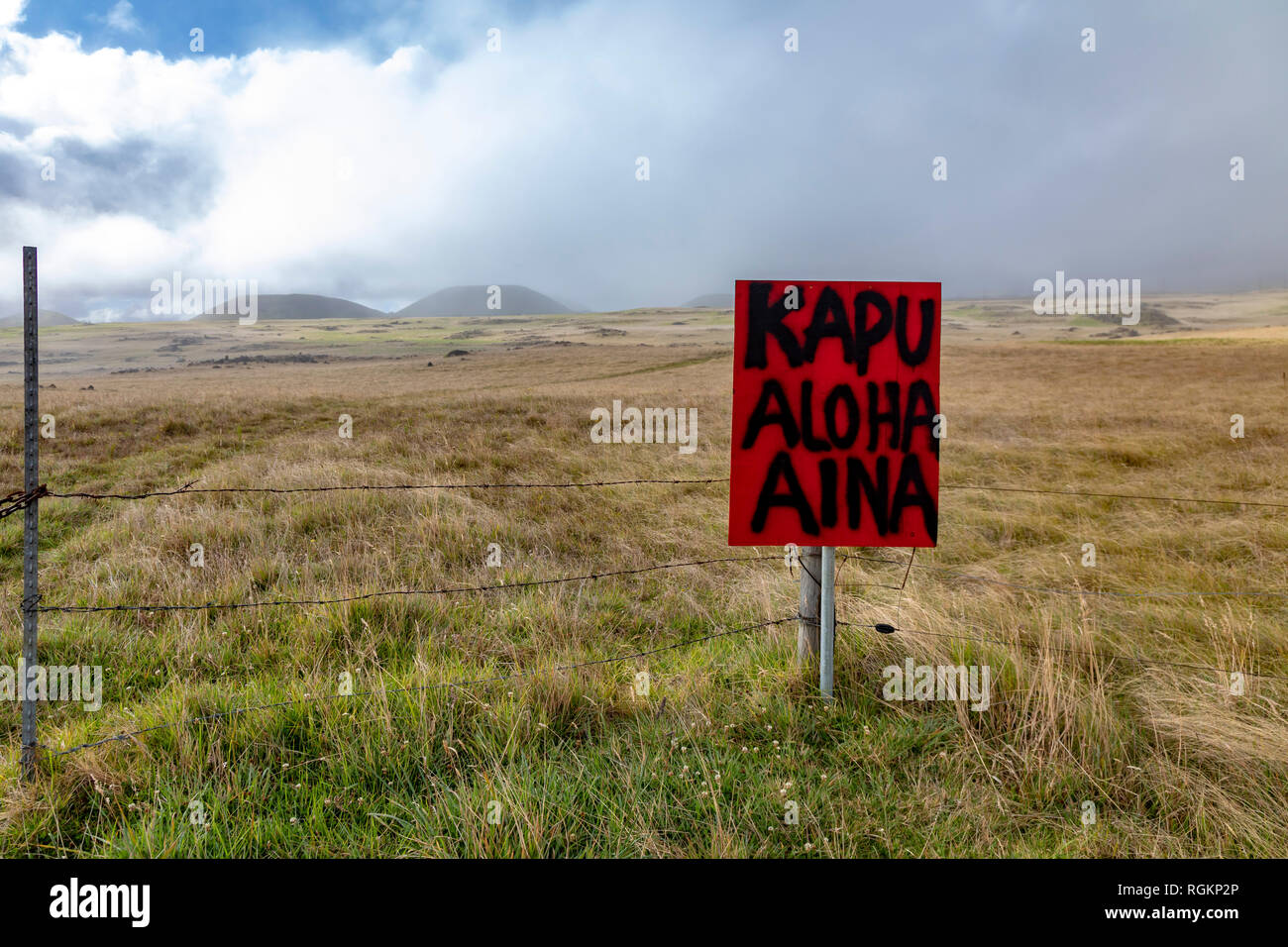 A sign on public lands at the base of the dormant volcano Mauna Kea lists traditional Hawaiian values. 'Kapu' is the traditional set of rules for ever - Stock Image