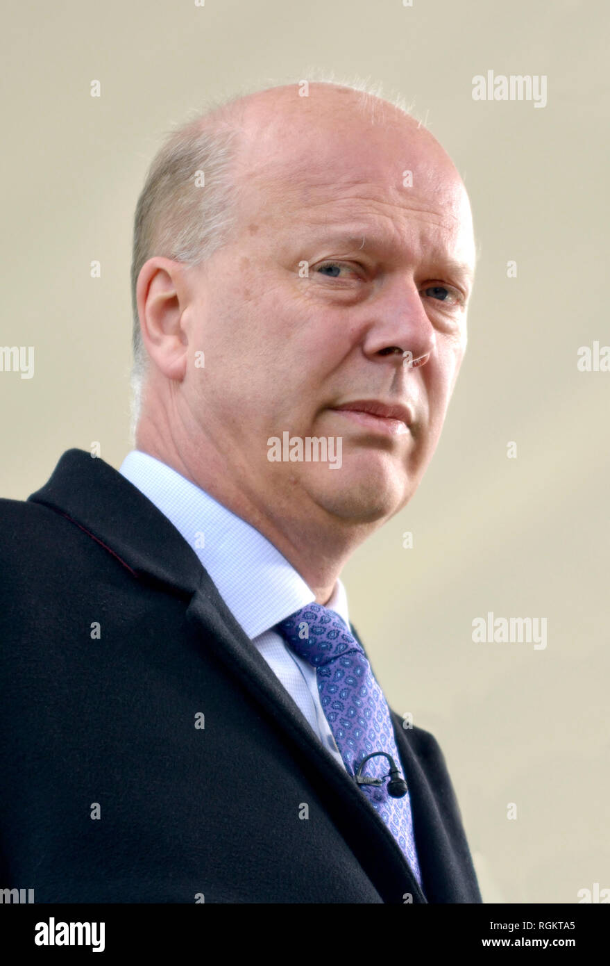 Chris Grayling MP (Conservative: Epsom and Ewell), Transport Secretary, on College Green, Westminster, June 2016 - Stock Image