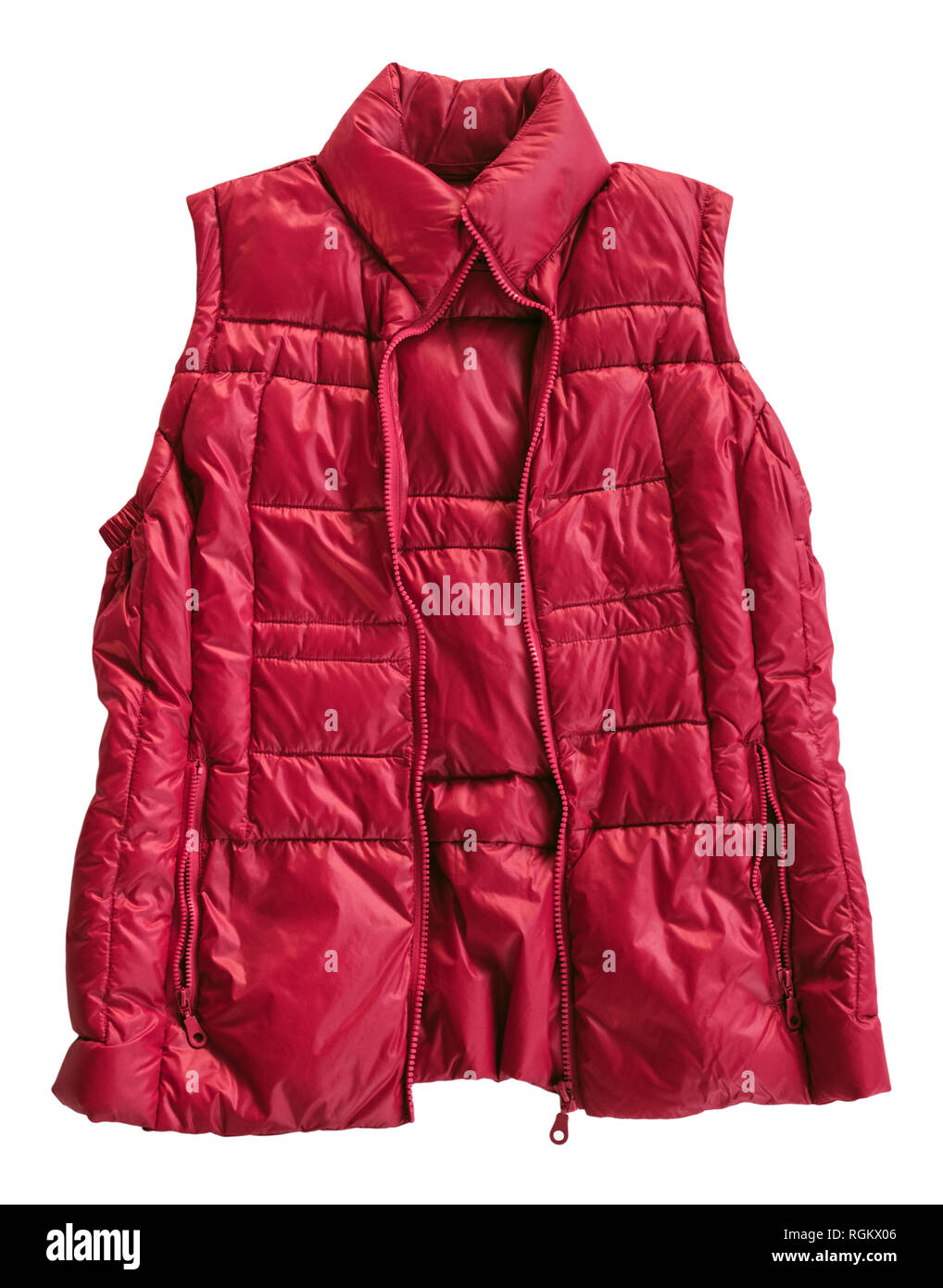 Down insulated bright red gilet vest waistcoat sleeveless jacket bodywarmer cutout and isolated on a white background. England UK Britain - Stock Image
