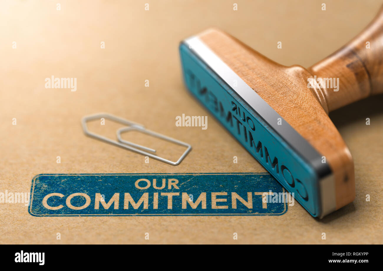 3D illustration of a rubber stamp with the text our commitment printed on paper background - Stock Image