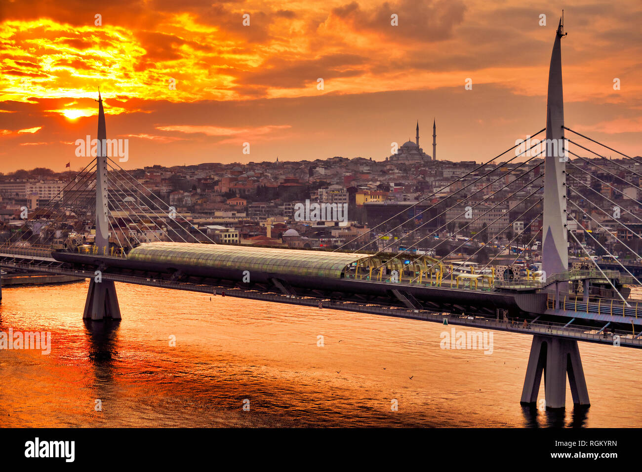 Golden Horn Metro Bridge, Istanbul, Turkey - Stock Image