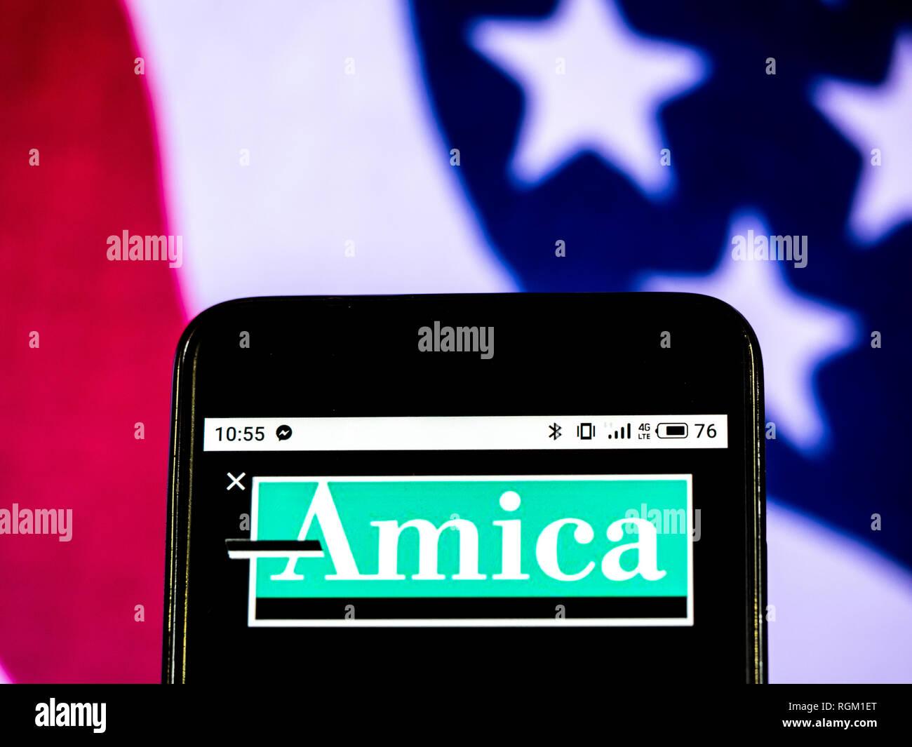 Amica Insurance Company >> Amica Mutual Insurance Company Logo Seen Displayed On Smart