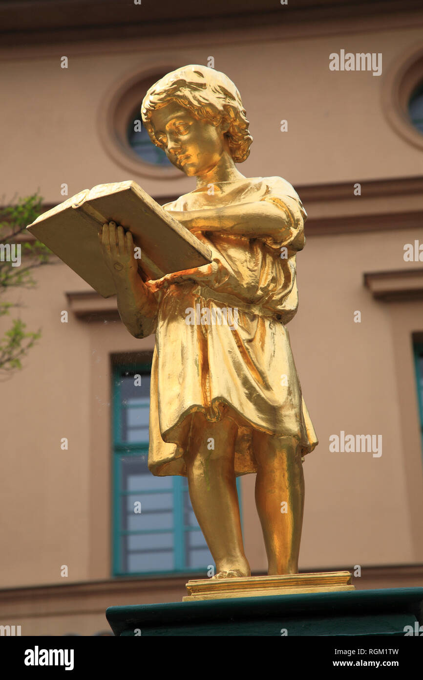 Statue in front of music school Otmar Gerster, Weimar, Thuringia, Germany, Europe - Stock Image