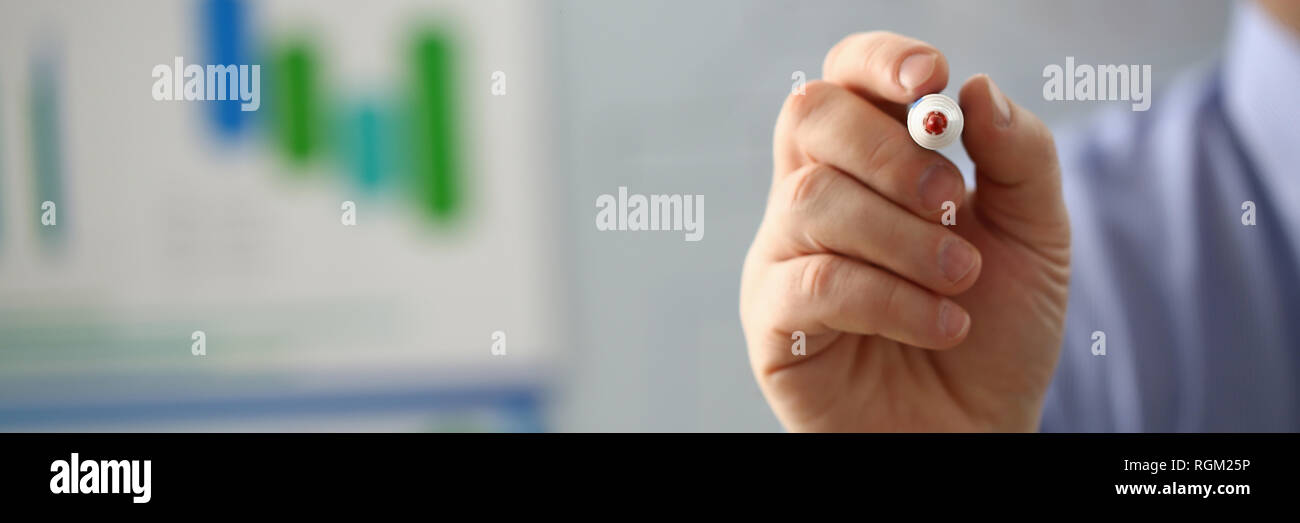 Male hand hold marker on white board problem - Stock Image