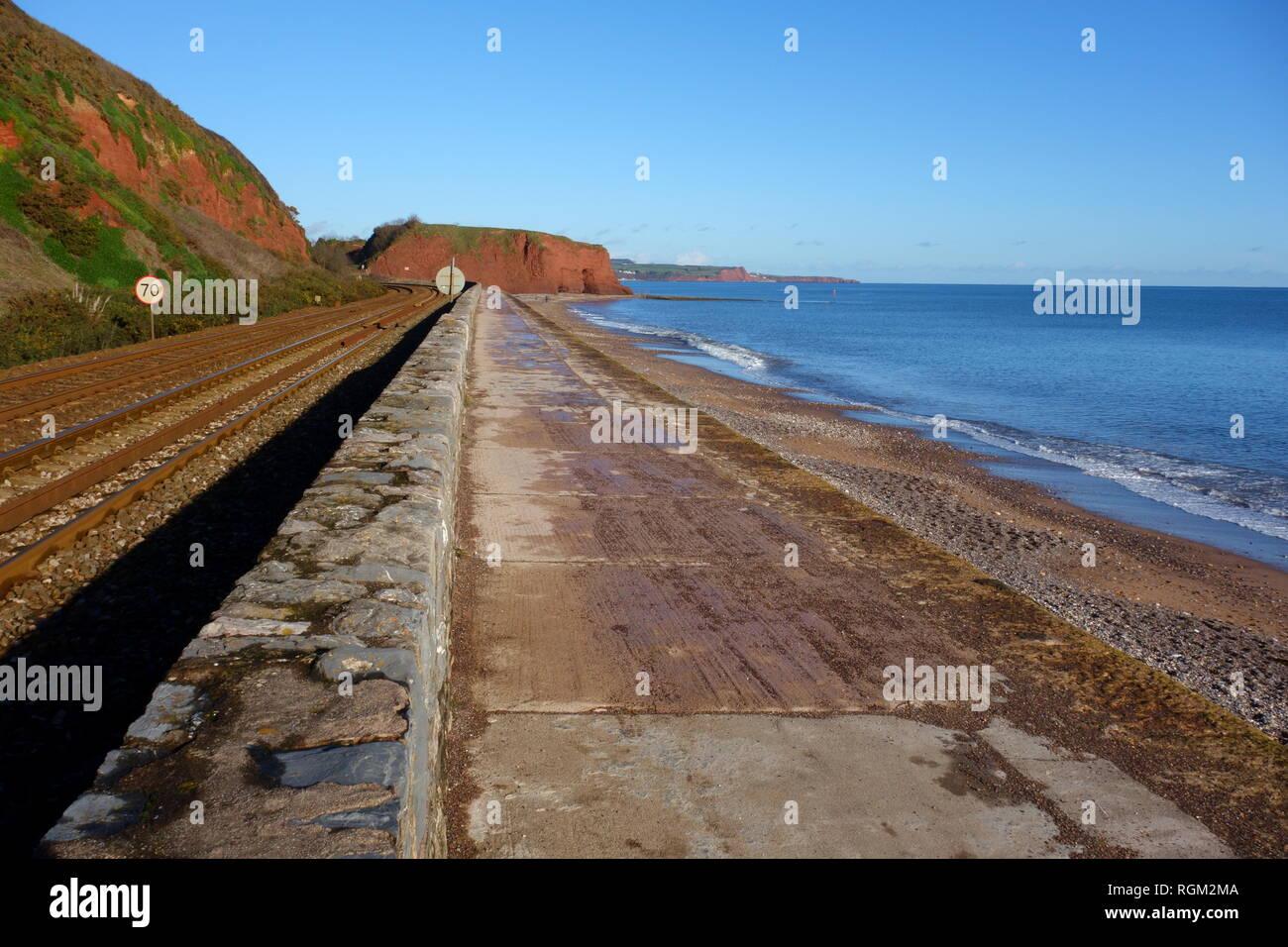 Railway line towards Dawlish, Devon, England, UK - Stock Image