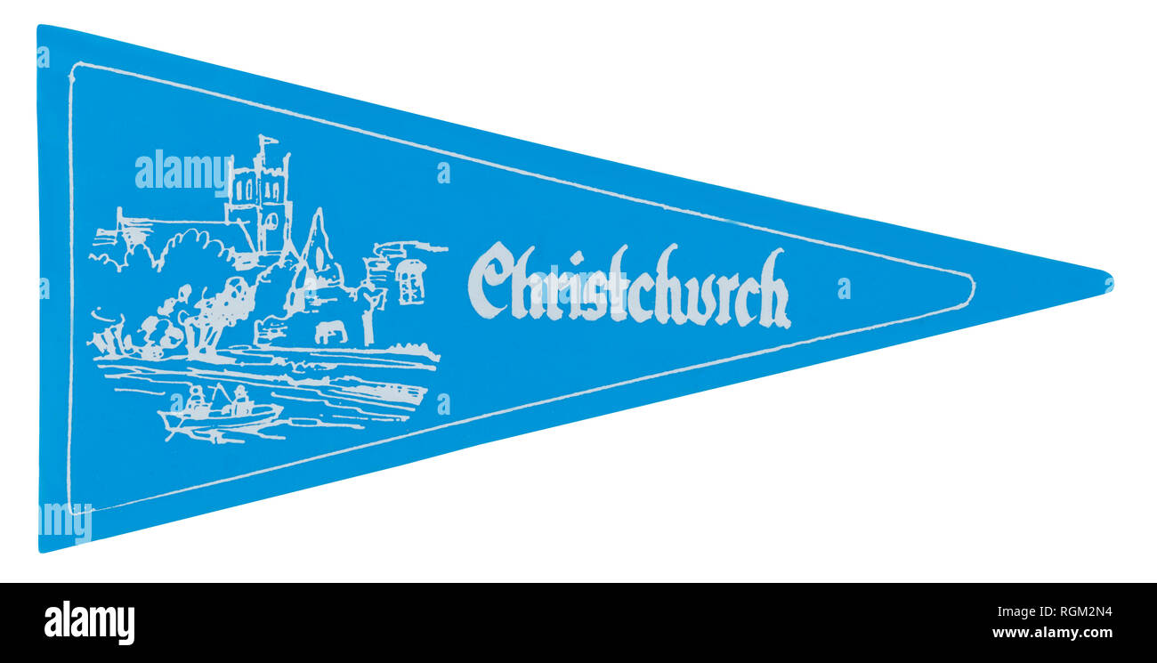 1970s car pennant for Christchurch in Hampshire silk screen printed on to vinyl plastic - Stock Image