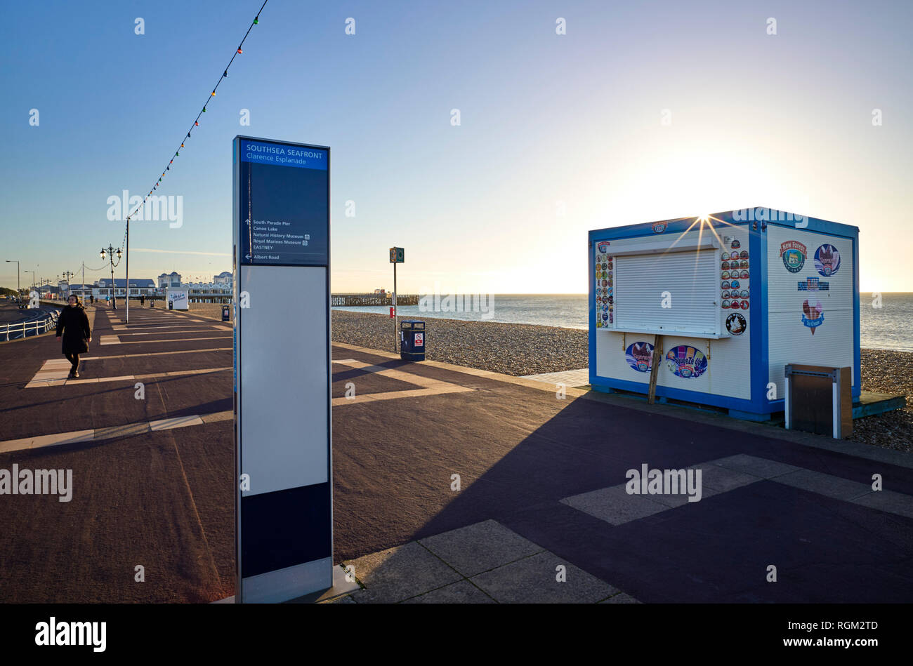Southsea seafront looking towards the pier on a winter morning Stock Photo