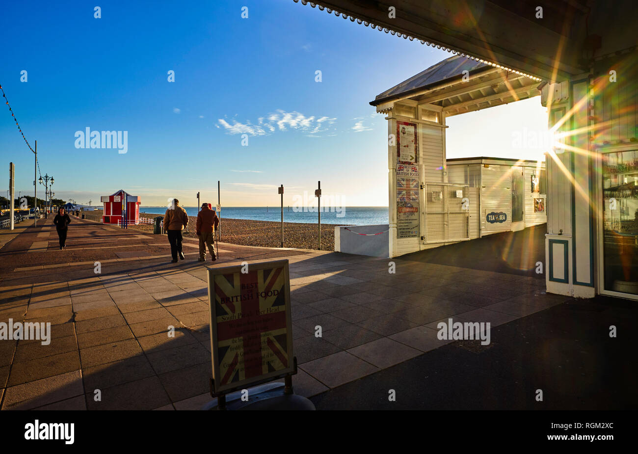 The entrance to Southsea Pier with starburst - Stock Image