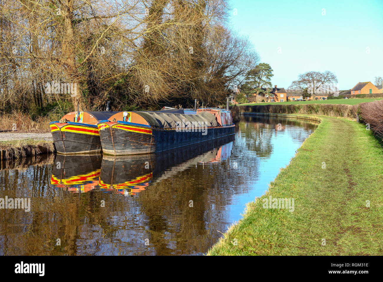 Barges or narrow boats on the Llangollen Canal Cheshire England UK - Stock Image