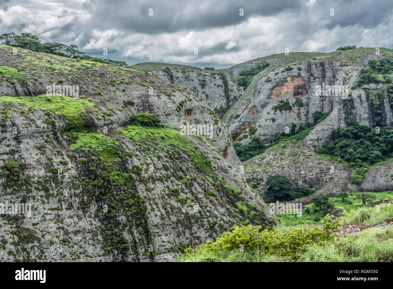 View at the mountains Pungo Andongo, Pedras Negras (black stones), huge geologic rock elements, in Malange, Angola Stock Photo