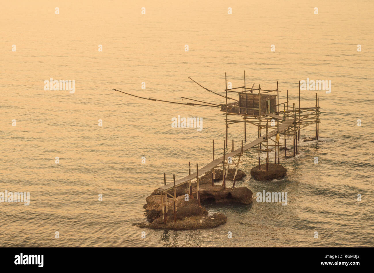 View of a trabucco, an ancient fishing machine typical of the southern Adriatic coast in Italy - Stock Image