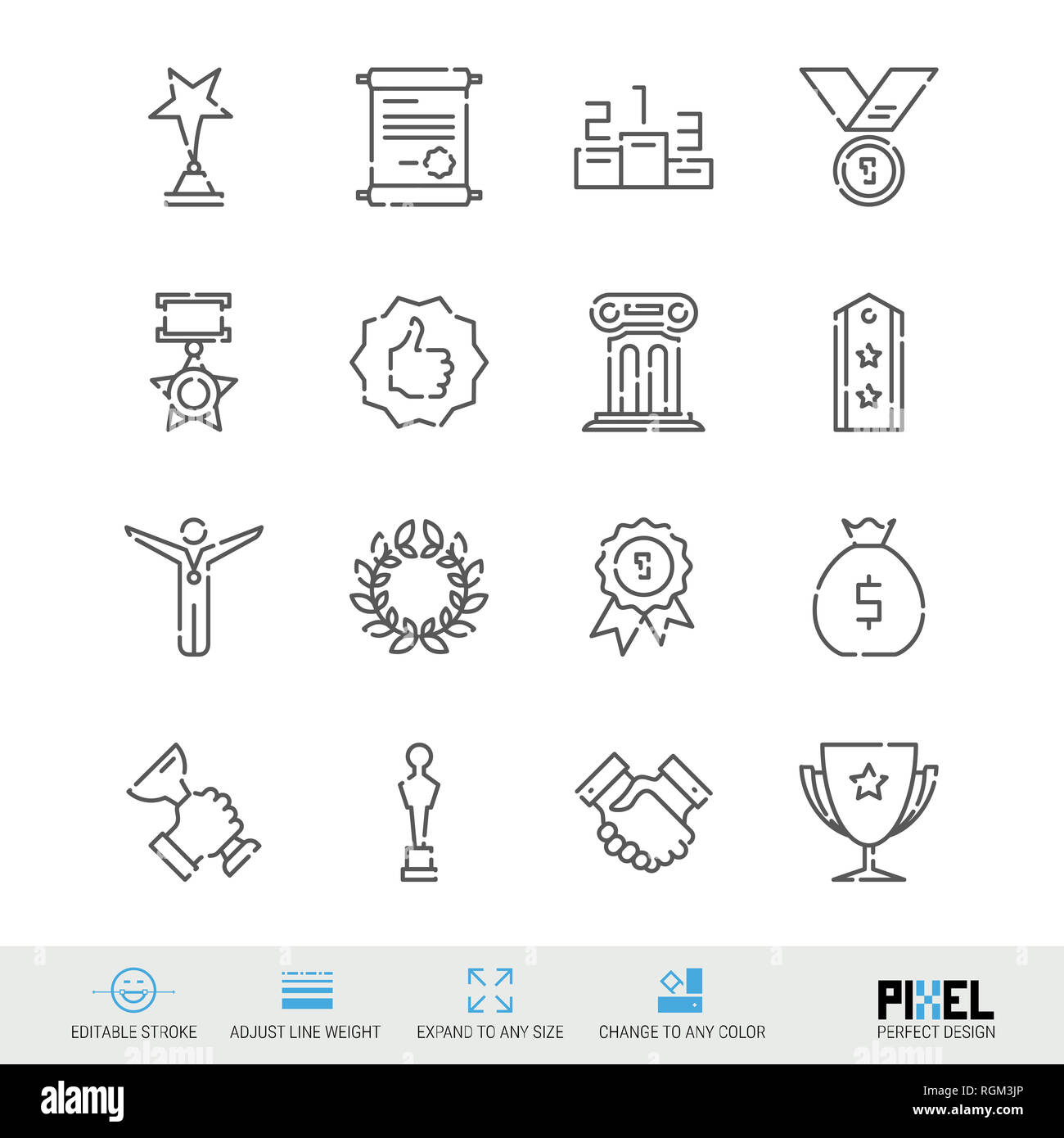 Line Icon Set. Awards Related Linear Icons. Success, Achievment Symbols, Pictograms, Signs. Pixel Perfect Design. Editable Stroke. Adjust Line Weight. - Stock Image