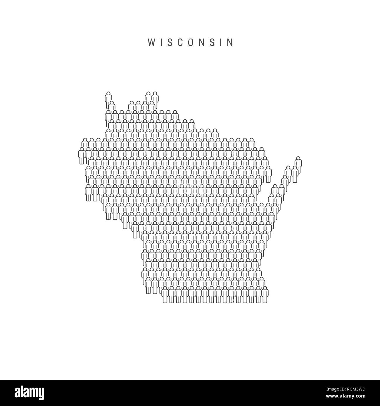 People Map of Wisconsin, US State. Stylized Silhouette, People Crowd in the Shape of a Map of Wisconsin. Wisconsin Population. Illustration Isolated o Stock Photo