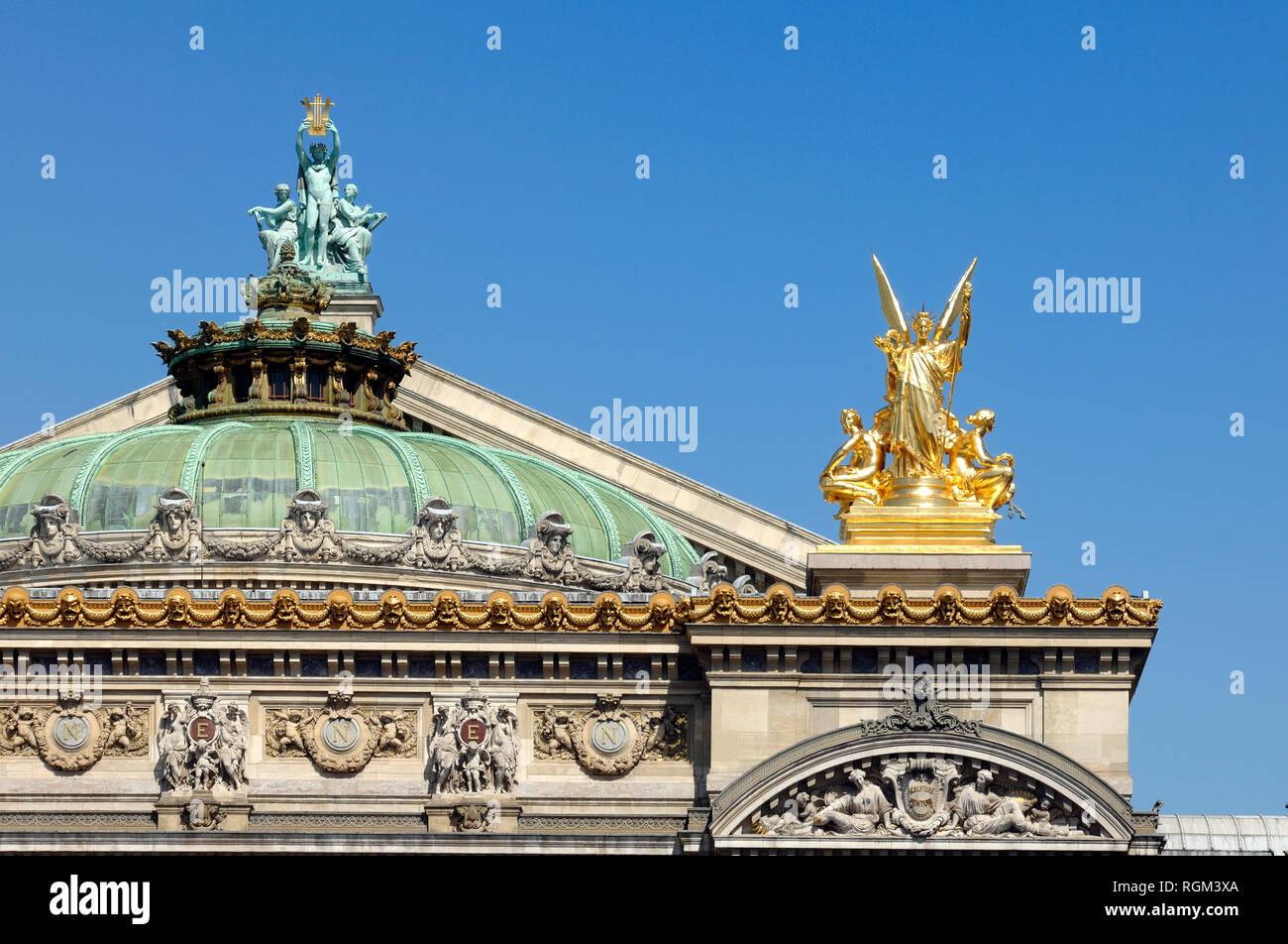 Baroque Roof Detail or Opera Garnier (1861-75) aka Palais Garnier, Paris Opera or Paris Opera House Paris France - Stock Image