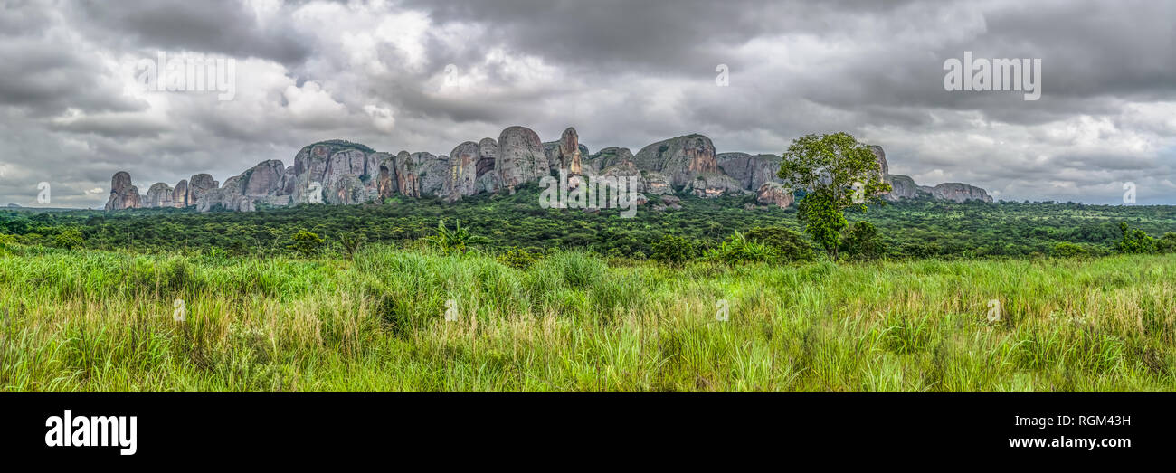 Panoramic view at the mountains Pungo Andongo, Pedras Negras (black stones), huge geologic rock elements, in Malange, Angola Stock Photo