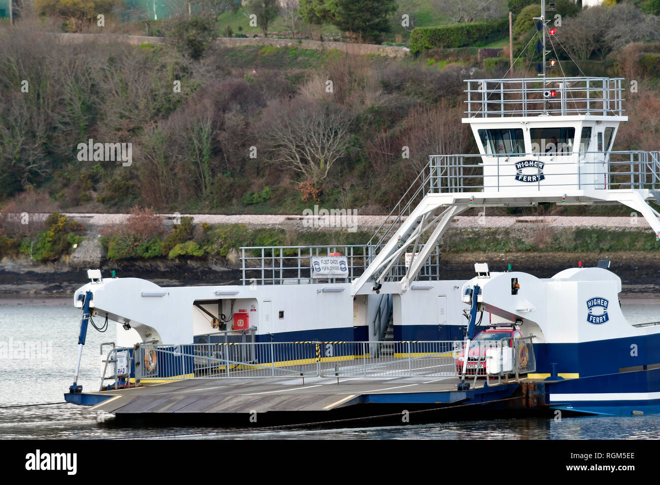 Dartmouth car and van Higher Ferry crossing the river dart in January 2019. A toll fee is paid for crossing. Picture Credit;Robert Timoney/AlamyStock/ - Stock Image