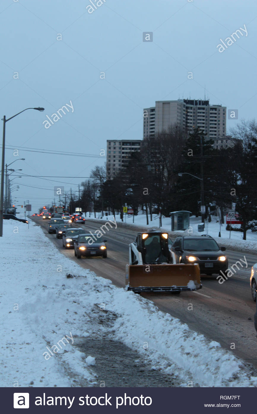 Toronto, Canada  29th January, 2019  Snowplow on road during