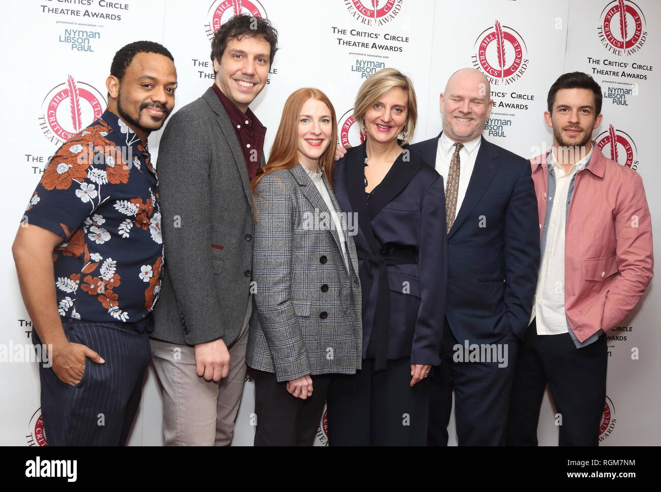 Ashley Campbell, Alex Gaumond, Rosalie Craig, Marianne Elliott, Christopher Harper and Jonathan Bailey at The Critics' Circle Theatre Awards at the Prince of Wales Theatre, Coventry Street. - Stock Image