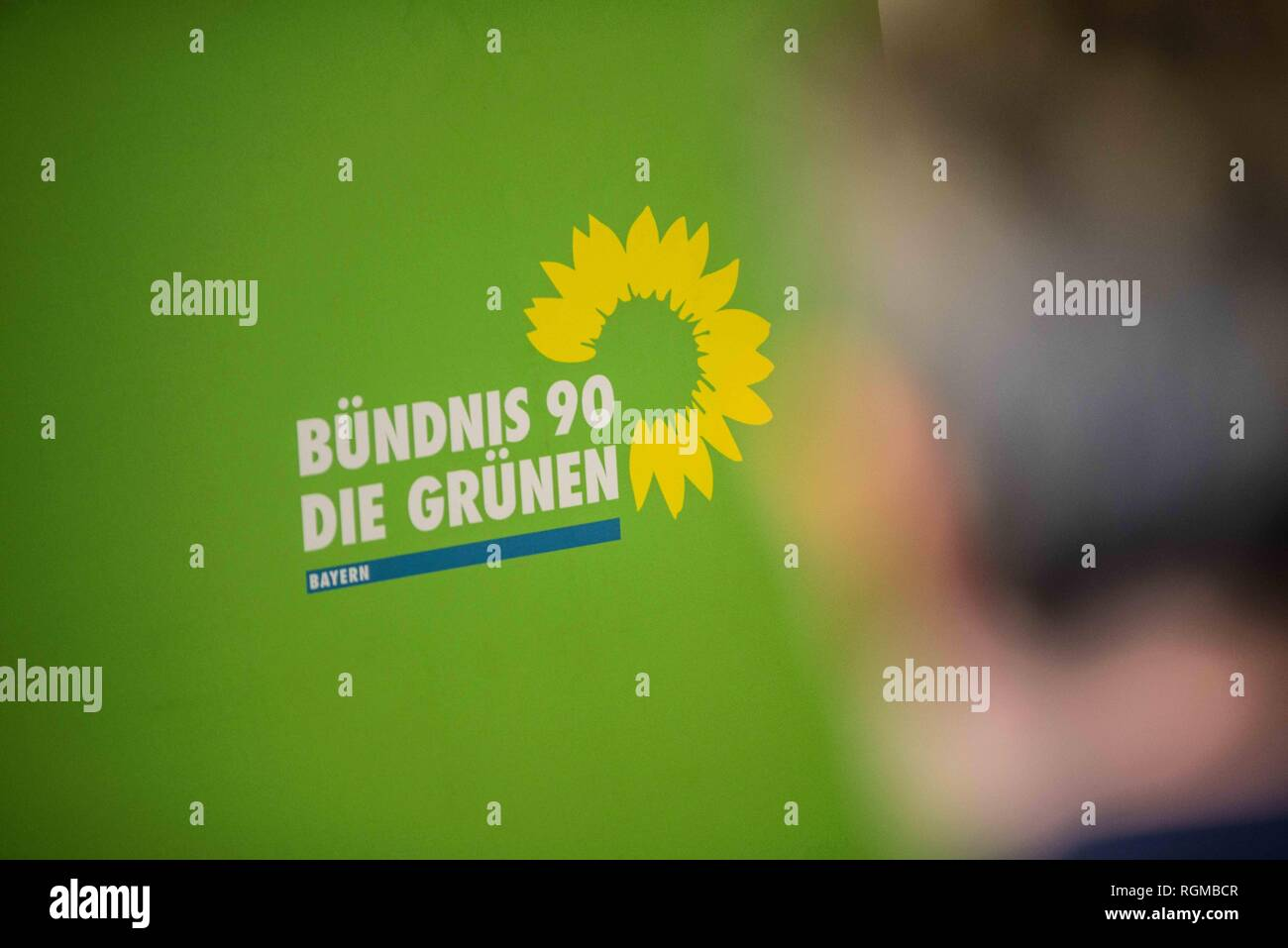 Munich, Bavaria, Germany. 30th Jan, 2019. The logo of the Green Party of Germany. The Bavarian Green Party presented Henrike Hahn, their European ParliamentSpitzenkandidat for the upcoming European elections (Europawahl). Hahn is a trained technologist and has lived previously in Detroit and Paris. Her strategies are based on ecological and social criteria and fighting against populism and right extremism. The Greens see the European Union as the greatest peace project of our time, thus they have positioned themselves against authoritarianism, populism, xenophobia, and anti-semitism. (C - Stock Image