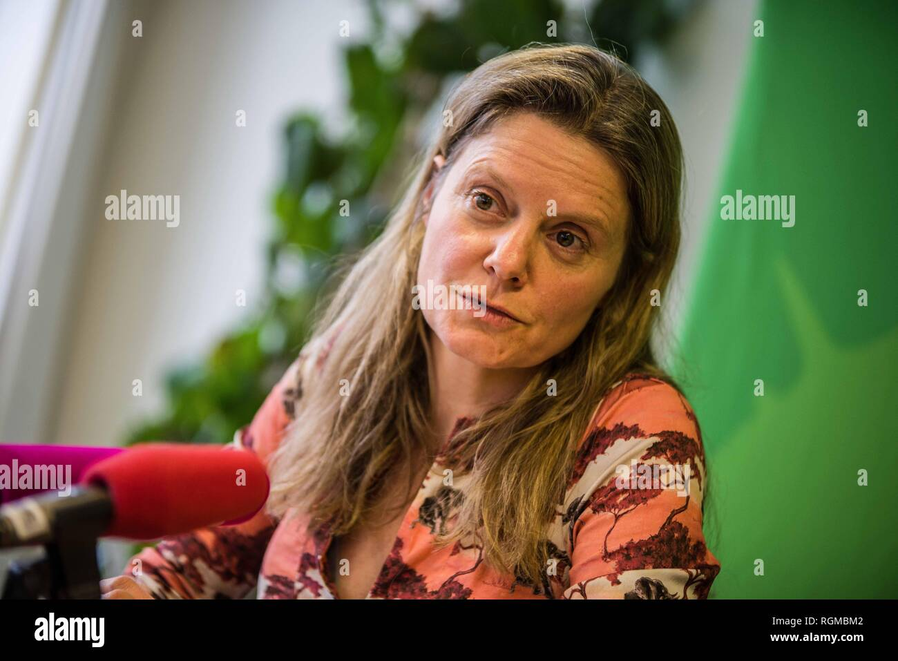 Munich, Bavaria, Germany. 30th Jan, 2019. HENRIKE HAHN, Spitzenkandidat from the Bavarian Greens for the European Parliament. The Bavarian Green Party presented Henrike Hahn, their European ParliamentSpitzenkandidat for the upcoming European elections (Europawahl). Hahn is a trained technologist and has lived previously in Detroit and Paris. Her strategies are based on ecological and social criteria and fighting against populism and right extremism. The Greens see the European Union as the greatest peace project of our time, thus they have positioned themselves against authoritarianism, - Stock Image