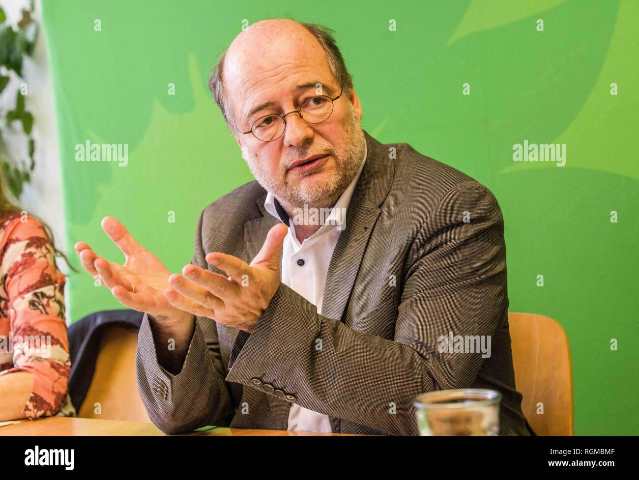 Munich, Bavaria, Germany. 30th Jan, 2019. EIKE HALLITZKY Landesvorsitzende of the Green Party. The Bavarian Green Party presented Henrike Hahn, their European ParliamentSpitzenkandidat for the upcoming European elections (Europawahl). Hahn is a trained technologist and has lived previously in Detroit and Paris. Her strategies are based on ecological and social criteria and fighting against populism and right extremism. The Greens see the European Union as the greatest peace project of our time, thus they have positioned themselves against authoritarianism, populism, xenophobia, and anti Stock Photo