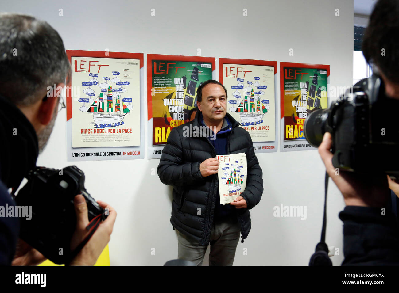 Domenico (Mimmo) Lucano, Mayor of Riace Rome January 30th 2019. Press conference in occasion of the end of the petition for the candidacy of Mimmo Lucano for Nobel Peace Prize.  The mayor of Riace, made headlines around the world for his unusual programme that welcomed migrants to the sparsely-populated town in Calabria, giving them abandoned homes and on-the-job training, in the hope that the new arrivals would rejuvenate the economy. Domenico Lucano, waiting for judgment, was detained last October over his alleged involvement in organizing 'marriages of convenience' for immigration purposes. - Stock Image