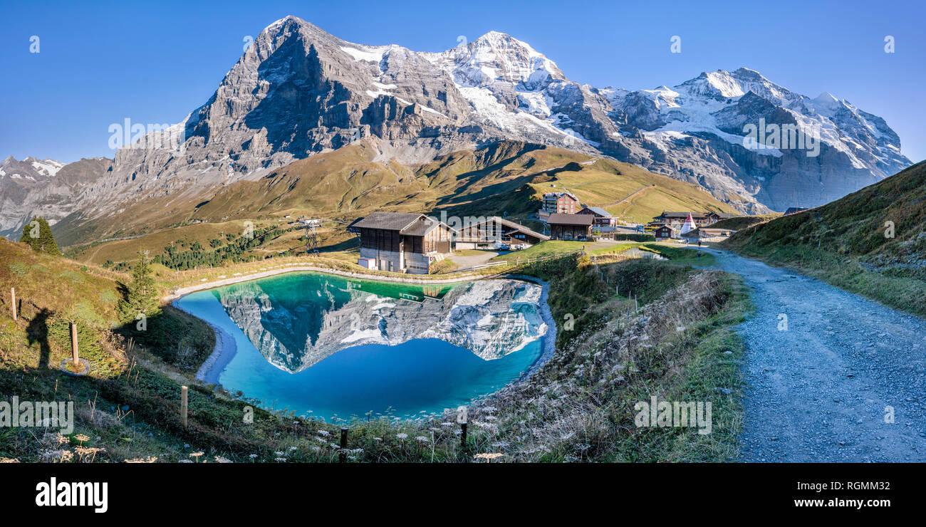 Switzerland, Bernese Oberland, Kleine Scheidegg, Eiger, Moench and Jungfrau - Stock Image