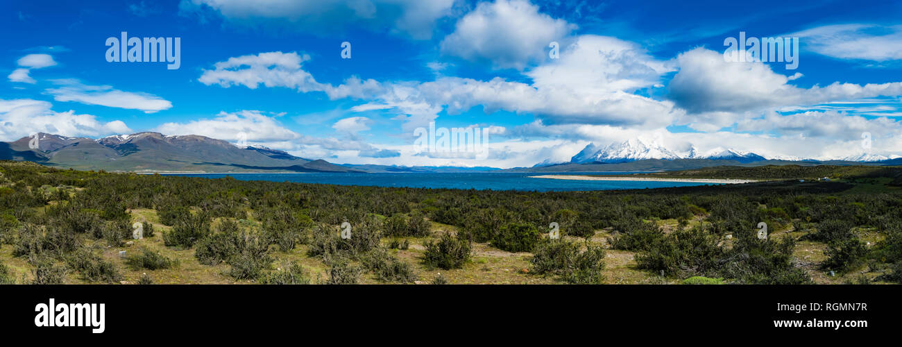 Chile, Patagonia, Magallanes y la Antartica Chilena Region, Torres del Paine National Park, Cuernos del Paine, Lago del Toro Stock Photo