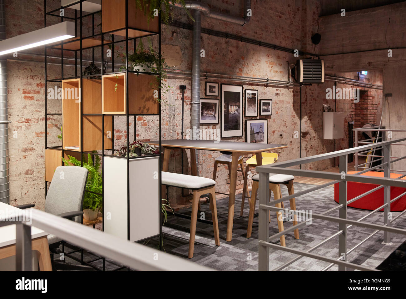 Interior of a modern industrial style loft office stock - Industrial look office interior design ...