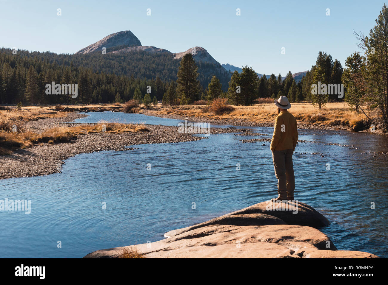 USA, California, Yosemite National Park, Tuolumne meadows, hiker on viewpoint - Stock Image