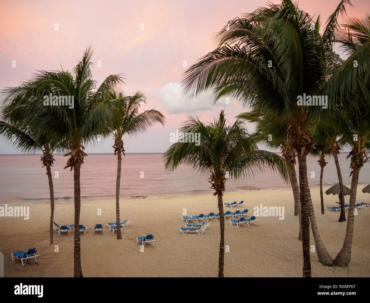 Beach Sunrise with Pink Sky - Stock Image