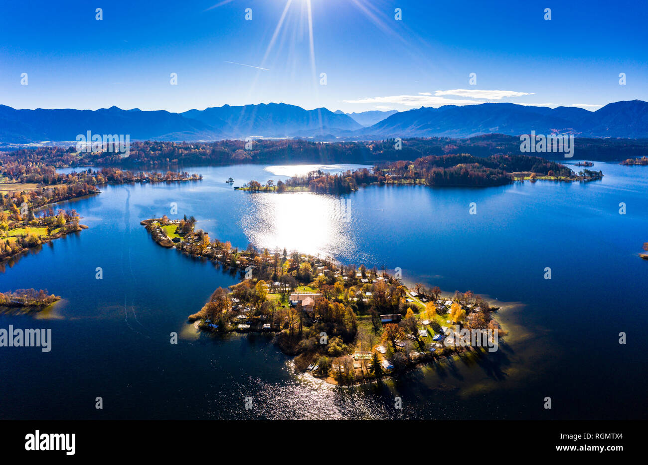 Germany, Bavaria, East Allgaeu, Garmisch-Partenkirchen district, Alpine Foreland, Aerial view of Staffelsee lake with islands Stock Photo