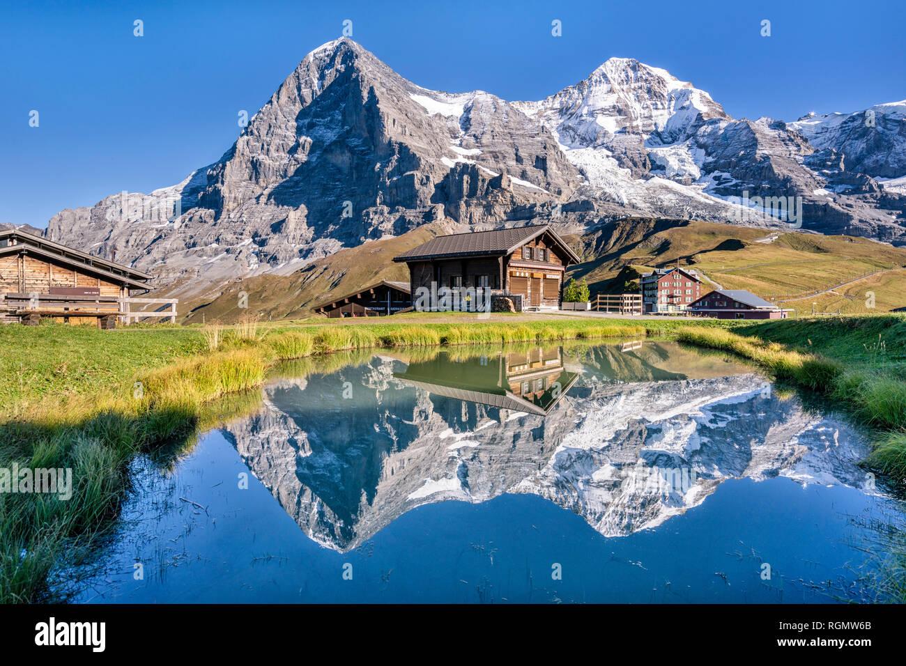 Switzerland, Bernese Oberland, Bernese Alps, Kleine Scheidegg, Eiger, Moench and Jungfrau - Stock Image