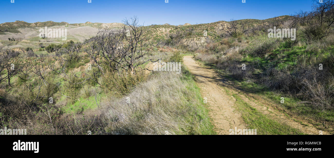Offroad Trail through the hills and woods of southern California near Santa Clarita. - Stock Image