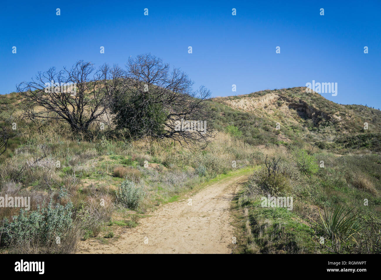 Dirt riding offroad trail into the desert hills on the edge of LA County. - Stock Image