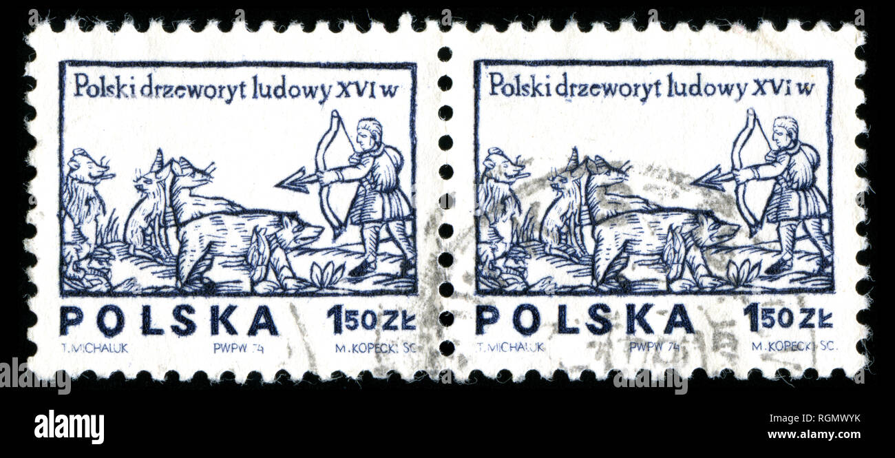 Postage stamp from the Poland in the Designs from 16th century woodcuts series issued in 1974 - Stock Image