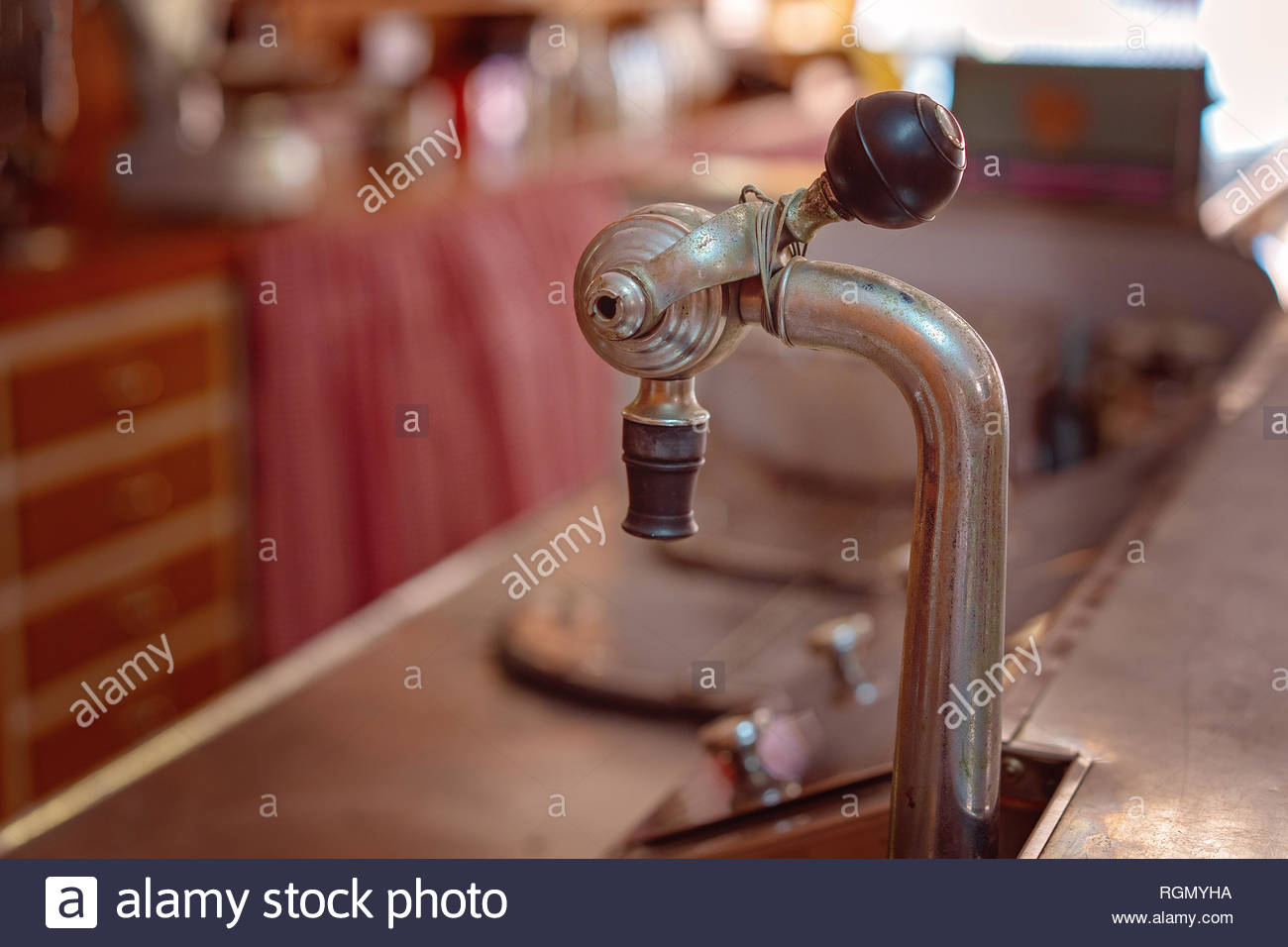 Old fashioned soda fountain on the counter of a retro cafe - Stock Image