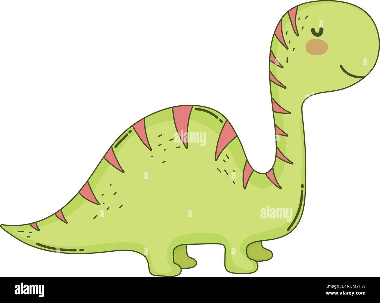 cute apatosaurus character icon Stock Vector