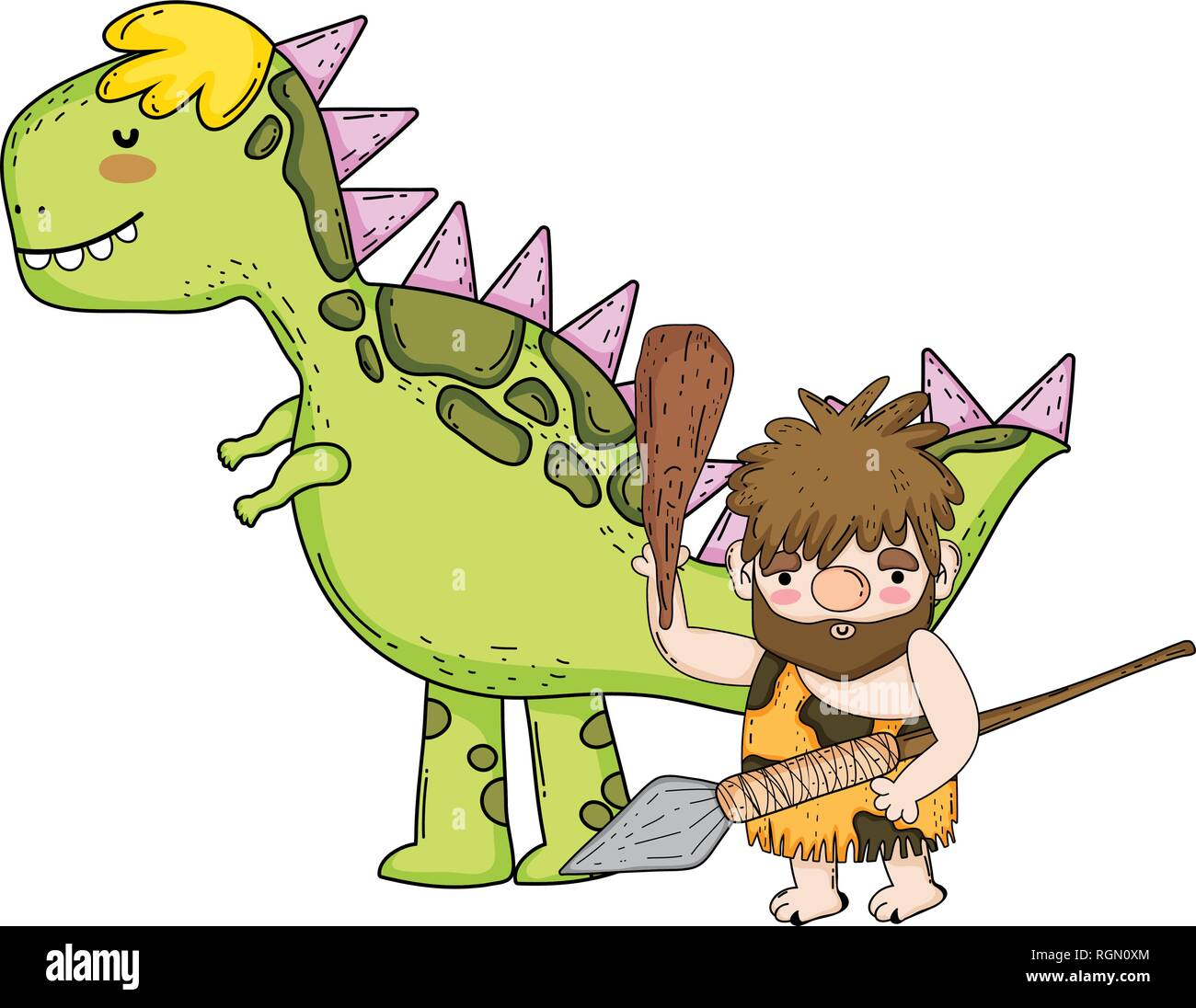 caveman with dinosaur characters - Stock Image