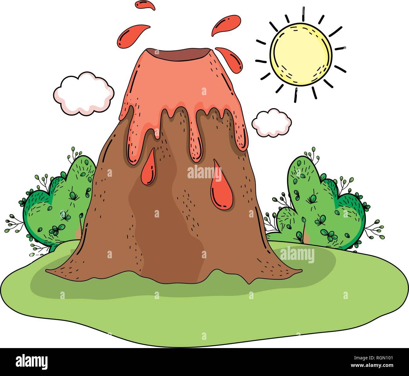 volcano prehistoric landscape scene - Stock Vector