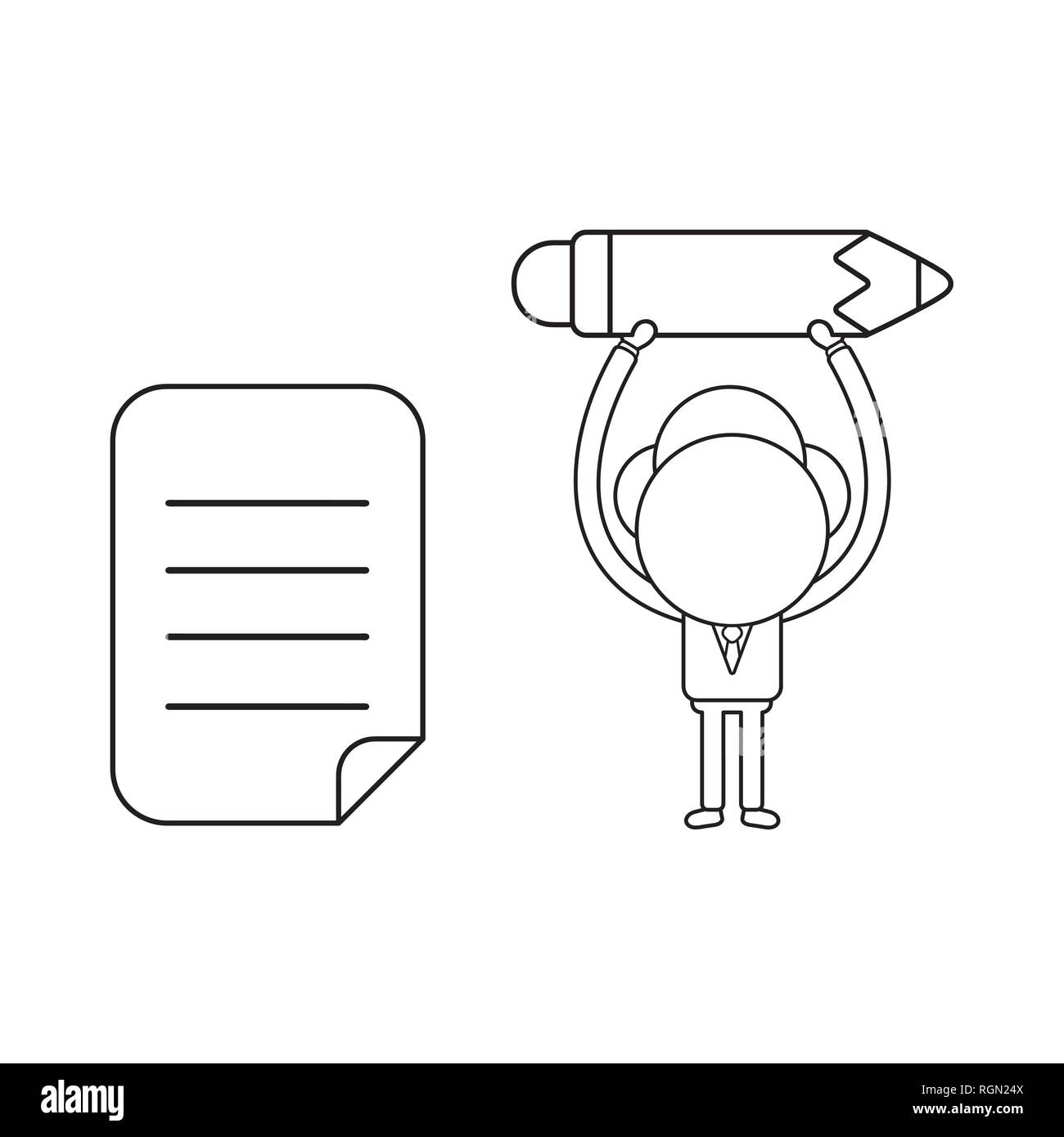 Vector illustration businessman character holding up pencil with written paper. Black outline. - Stock Vector