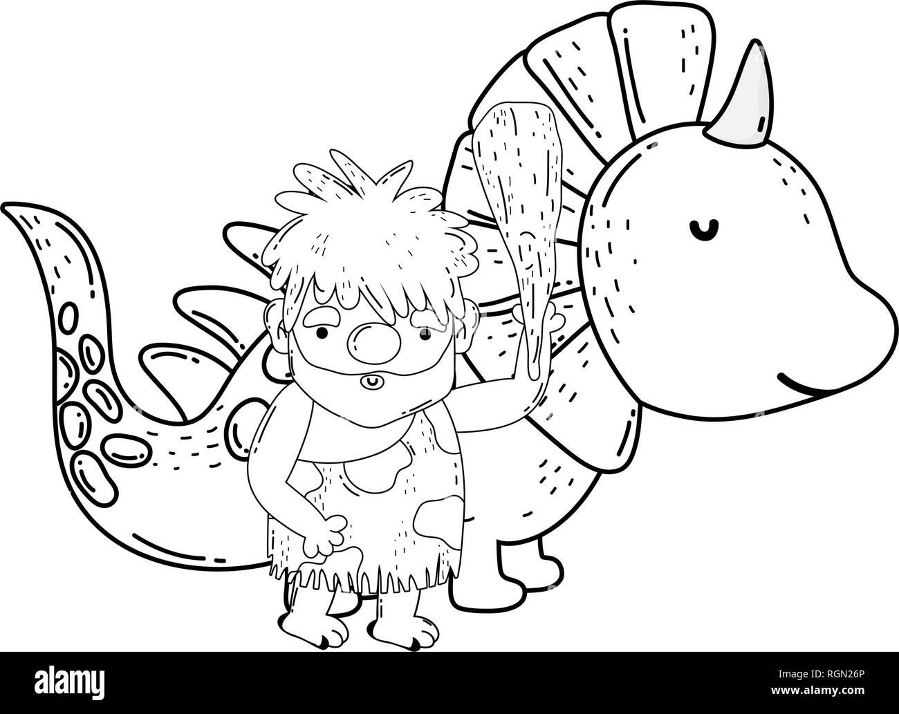 caveman with dinosaur characters - Stock Image